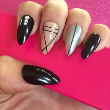 Luxury Hand Painted False Nails. Stiletto Black, Nude & Holographic Silver Nails. 24 Nail Set.