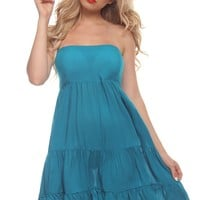 TEAL STRAPLESS RUFFLED SHORT CASUAL DRESS