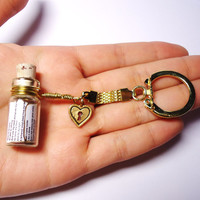 Love Song in a Bottle Keychain. Your Choice. Gold Love Heart Charm. Ready to Ship