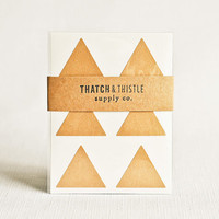 Kraft Brown Triangle Stickers - Set of 24 - (1.5 Inch) Envelope Seals Large Wedding Gift Wrapping Party Invitations Embellishment Packaging