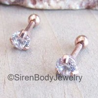 "Rose gold ball back earrings 16g 1/4"" prong set crystal clear CZ gemstones ear body jewelry studs"