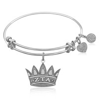 Expandable Bangle in White Tone Brass with Zeta Tau Alpha Symbol