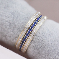 Discount - 3 Rings Set VS Blue Sapphire Ring Pave 14K Yellow Gold Blue Sapphire Band Two Diamond Engagement Ring Wedding Band Set