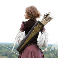 """Womens Archery Quiver Leather Bowman """"Archeress"""" series etched brass"""