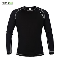 WOSAWE Fleece Thermal Underwear Running T-Shirt Men Long Johns Tops Fitness Gym Shirts for Jogging Cycling Sports Base Layer