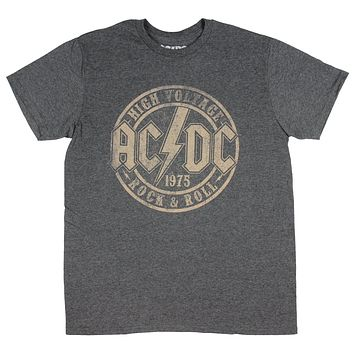AC/DC T-Shirt High Voltage 1975 Rock & Roll Band Mens' Heather Grey Tee