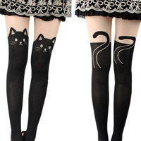 Shop Crazy Cats Fashion Gifts for Women Silk Stockings Pantyhose Ribbed Over Cute Tights