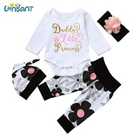 LONSANT born Infant Baby Girl Letter Long Sleeve Casual Romper Tops+Floral Pants Hat 4Pcs Girls Clothes
