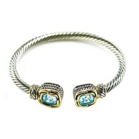 Mariquita Aqua Cushion Crystal Cable Open Bracelet