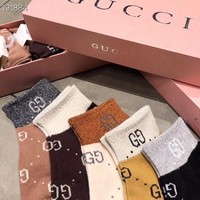 """Gucci"" Women Wild Fashion Spell Color  Letter Knit Boat  Socks"