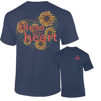 Southernology Bless Your Heart Sunflower Comfort Colors T-Shirt