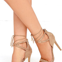 High Above Me Camel Suede Lace-Up Heels