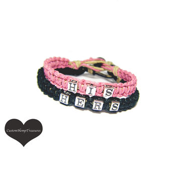 His Hers Bracelets for couples, Pink Black,Hemp Bracelets,Sterling Silver Bead,Gift for Couples,Anniversary Gift,Gift Ideas