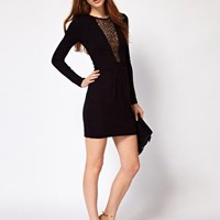 French Connection Lace Slash Front Bodycon Dress at asos.com