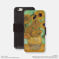 Sunflower Van Gogh Painting iPhone Samsung Galaxy leather wallet case cover 158