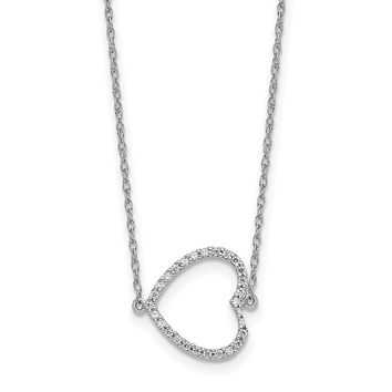 14k White Gold Sideways Real Diamond Heart 18in Necklace