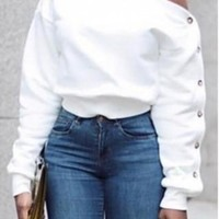White Off Shoulder Long Sleeves Sweatshirt With Button Detail