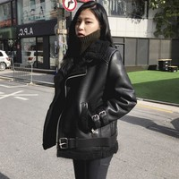2018 New Fashion Women Autumn\Winter Black Faux Leather PU Jackets Zipper Basic Coat Turn-down Collar Biker Jacket With Blet
