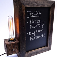 Rustic Lamp and Chalkboard