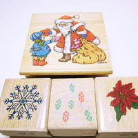 CHRISTMAS STAMPS, Assorted Christmas Stamps, Rubber Stamp Set, Card Making, Scrapbooking, Rubber Stamp Supplies, Christmas Card Art