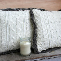 Fur Lined - Cable Knit Pillows - Cream - Set of Two