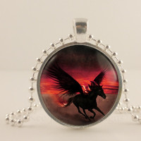 Red and Black Unicorn fantasy glass and metal Pendant necklace Jewelry.