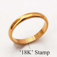 """Simple Band Rings With """"18K"""" Stamp Quality 18K Real Gold Plated Women Men Jewelry Classic Wedding Band Rings U7 = 1931900420"""