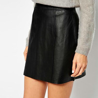 Plain Black PU Leather Zippered Mini Skirt