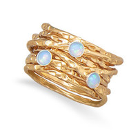 12/20 Gold Filled Multiband Synthetic Opal Ring