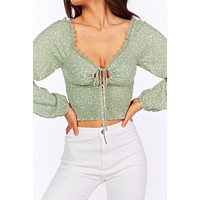 Hey Babe Smocked Keyhole Crop Top (Olive)