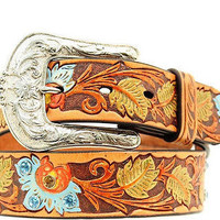 Ariat Women's Western Painted Floral Tooled Leather Belt