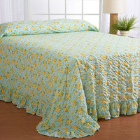 Queen size Cotton Blend Bedspread with Yellow Rose on Sky Blue Background