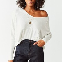 Out From Under Hazel Cozy Blocked Long Sleeve Cropped Top | Urban Outfitters