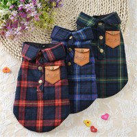 2016 Spring/Summer Fashion Pet Dog Plaid Shirts Vests Casual Cotton Pet Dogs Clothes T Shirt Apparel For Puppy Dogs Cats Shirt