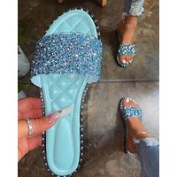 Summer women's shoes new sequins fashion flat slippers sandals Blue