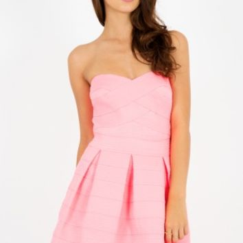 Amy Neon Pink Embossed Bandage Bandeau Skater Dress | Shelikes