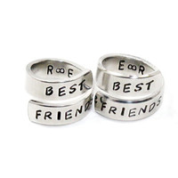Personalized Best Friends Ring Set, Best Friend Initials Match Rings, BFF Sisters Aluminum Ring, Besties Friendship Jewelry Wrap Rings
