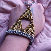 Legend of Zelda Inspired Triforce Chainmaille Slave Bracelet - Hand Flower - Zelda Jewelry - Chainmail
