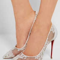 Christian Louboutin - Follies 100 leather-trimmed lace pumps