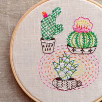 Modern Hand embroidery patterns, Cactus embroidery, plant embroidery, modern embroidery