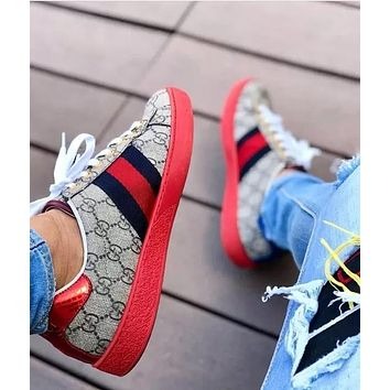 Inseva Gucci Woman Men Fashion Casual Sneakers Sport Shoes Red Sold