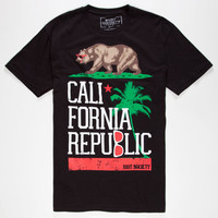 Riot Society Tropical Cali Mens T-Shirt Black  In Sizes