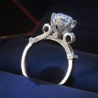 New Design Women Lotus Flower Ring Silver Color Jewelry Zircon Engagement Rings For Bride Women