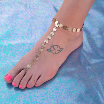 Gold Coin Chain Barefoot Sandals, Slave Anklet, foot thong, Anklet ankle bracelet with toe ring Gypsy Boho Bohemian Barefoot Wedding