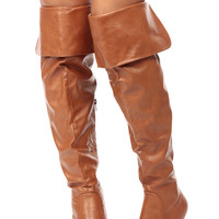 Tan Faux Leather Over the Knee Wedge Boots