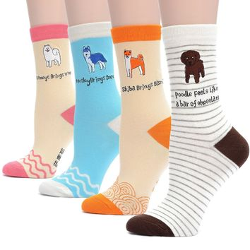 Field4U Women's 4 Pairs Famous Collection Painting Crew Socks