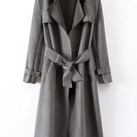 Grey Notched Collar Long Sleeve Tie-waist Trench Coat