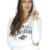 Harley-Davidson Womens The Searchers Trademark B&S Pullover White Hoodie