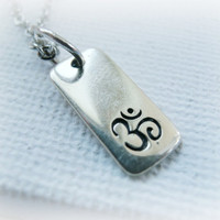 Ohm mini dog tag Necklace - Ohm Necklace - Sterling Silver Necklace - Yoga Necklace - Om chain