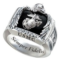 Sterling Silver USMC Ring: USMC Gift For Marines - size 8.5